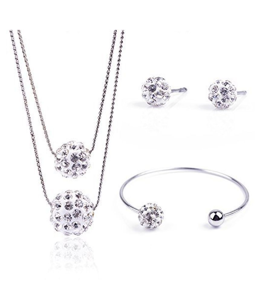 Valentine Gifts : YouBella Jewellery Valentine Collection Crsytal Combo of Pendant Necklace Set, Bangle Bracelet and Fancy Party Wear Earrings for Girls and Women