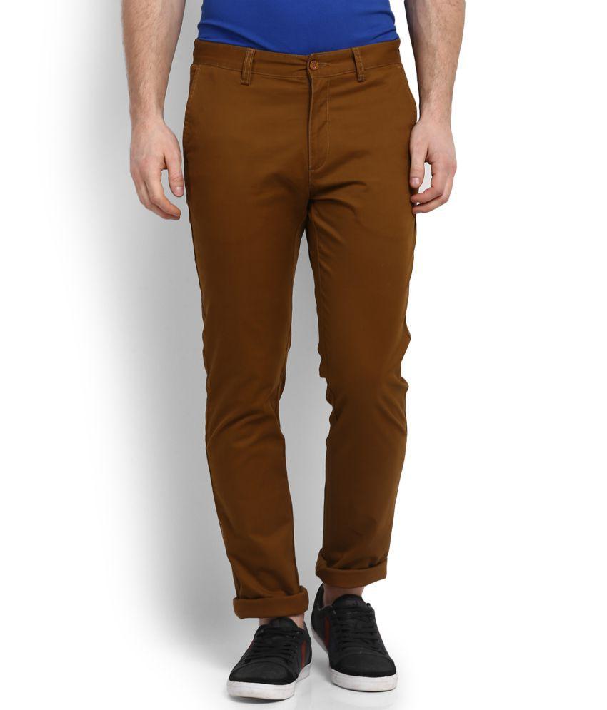 Izod Coffee Slim Flat Trousers