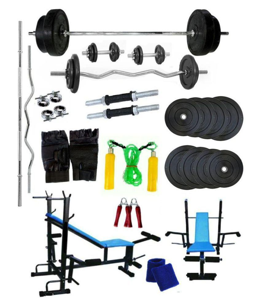 Venom Home Gym with 40 Kg. Weight Plates, Dumbell Rods, Straight Rod, Curl Rod, 8 in 1 Bench, Gym Gloves, Skipping Rope, Wrist Band and Hand Gripper