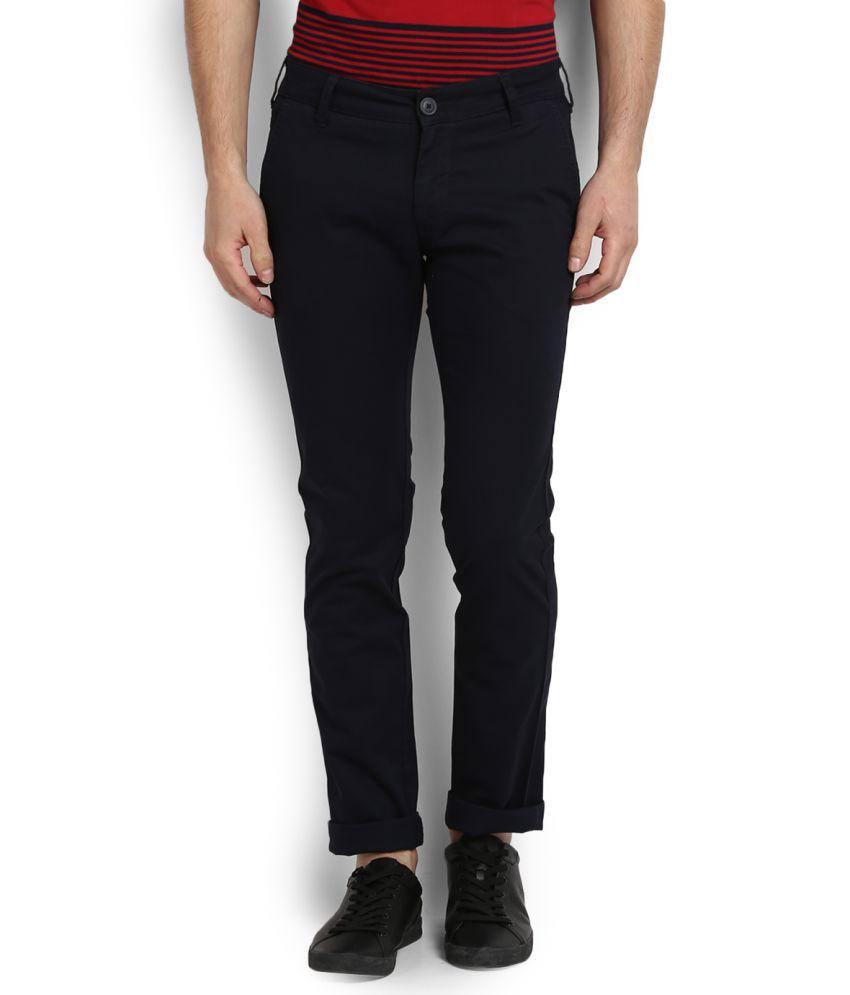 Wrangler Navy Blue Slim Flat Trousers