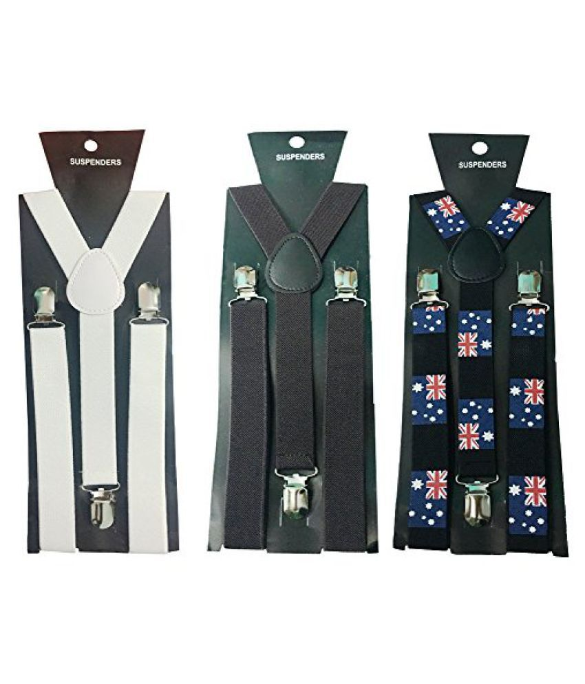 Atyourdoor Y- Back Suspenders for Men(White, Dark Brown, & Australian Flag Design)