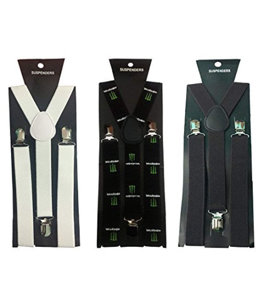 Atyourdoor Y- Back Suspenders for Men(White, Monster Design & Dark Brown Color)