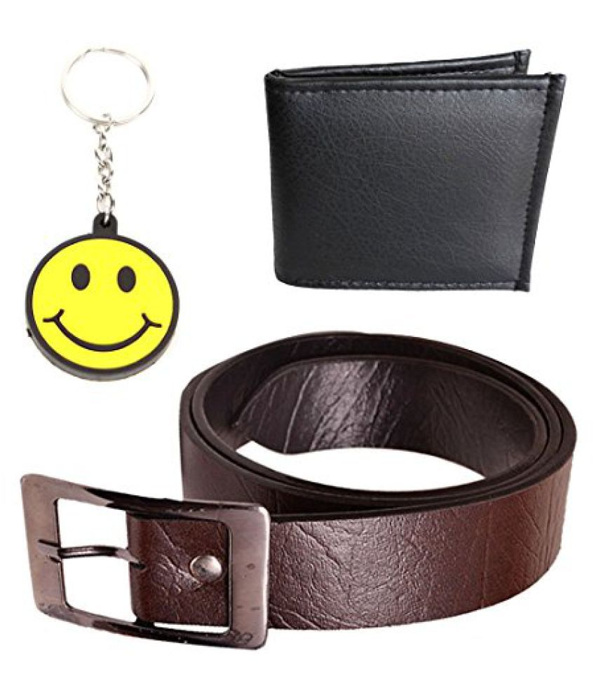 Elligator Safari Brown Belt With Black Wallet & Smiley Key Chain Combo