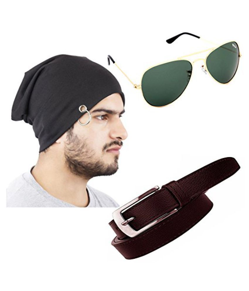 Elligator Stylish Winter Black Sloachy Ring Beanie Cap With Synthetic Belt  And Aviator Sunglass For Men (One Cap cd6348d7815