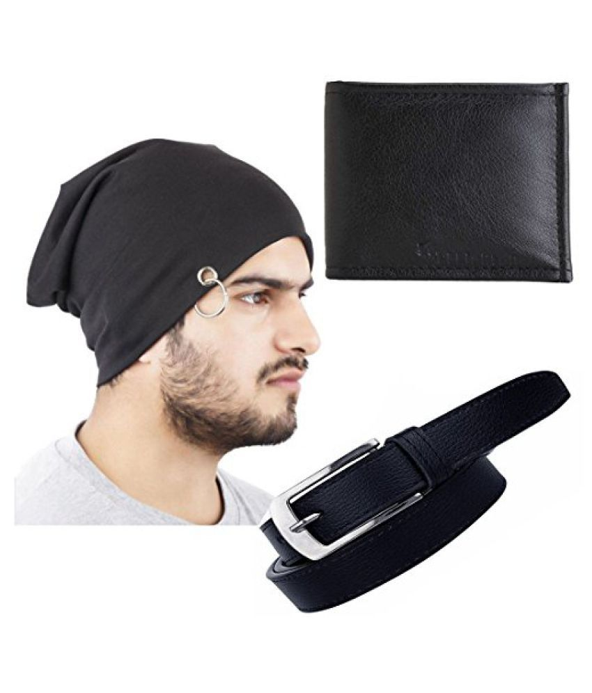 Elligator Stylish Winter Black Sloachy Ring Beanie Cap With Synthetic Wallet And Belt For Men (One Cap,One Wallet,One Belt)