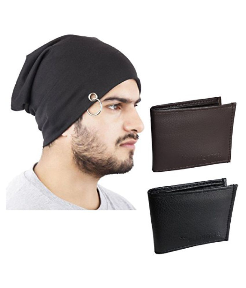 Elligator Stylish Winter Black Sloachy Ring Beanie Cap With Synthetic Black & Brown Wallet For Men (One Cap,Two Wallet)
