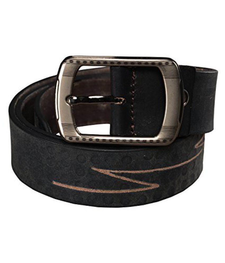 GetAbhi Black Leather Casual Belts