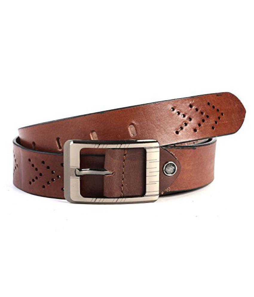 Leather Junction Stylish Brown Belt For Men Size-38