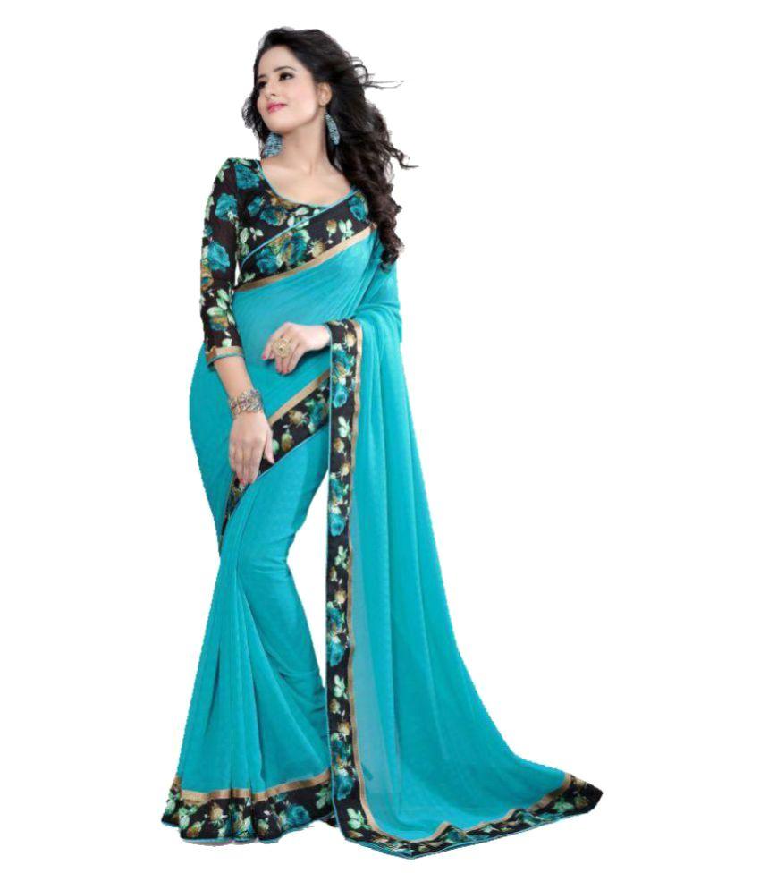 Varya Fashion Blue Georgette Saree