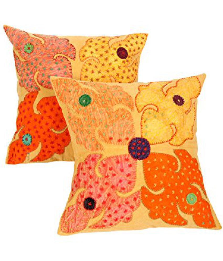 Indian Ethnic Cushion Cover Cotton 16x 16 Pack of 2 Yellow Floral Luxurious Pillow case ( 40 x 40 )cm Patchwork By Rajrang