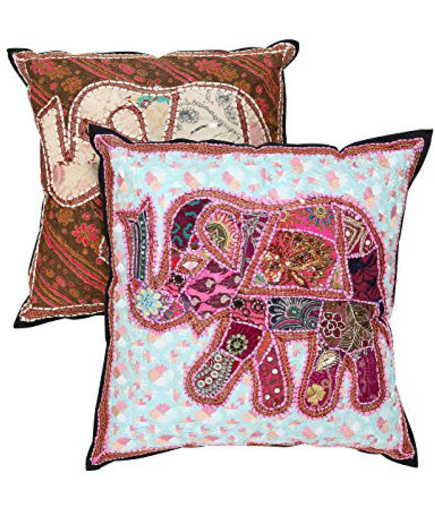 Indian Handmade Traditional Brown Pillow cover Cotton Patchwork Cushion Cover 21 x 21 Pack of 2 Elephant Home Furnishing Sofa set By Rajrang