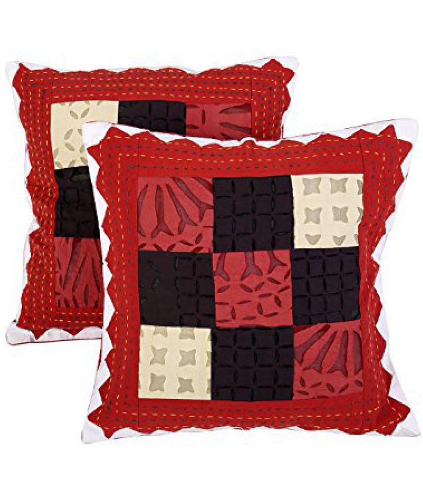 Indian Traditional Deocrative Pillow case Red 40cm Cotton Chevron Premium Applique Work Cushion Cover 16