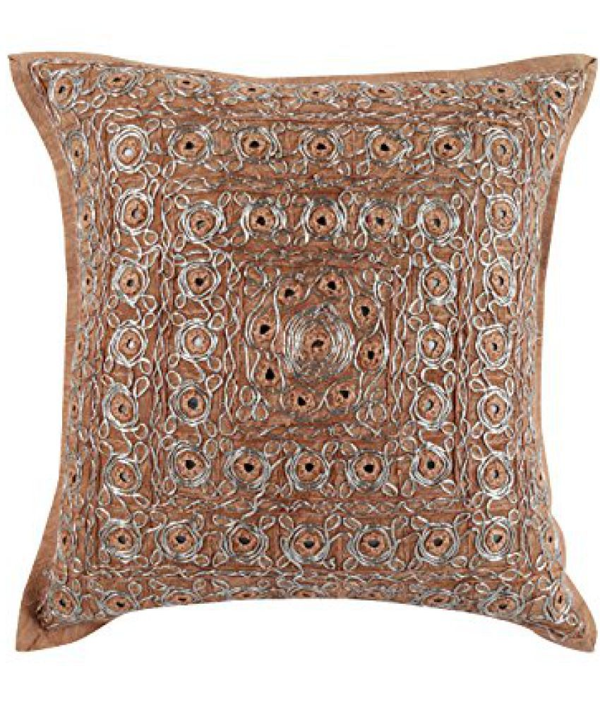 Unique Brown 17x17 Vintage Cushion Cover Single Circles Cotton Pillow Covers Handmade Embroidered Throw Pillow By Rajrang