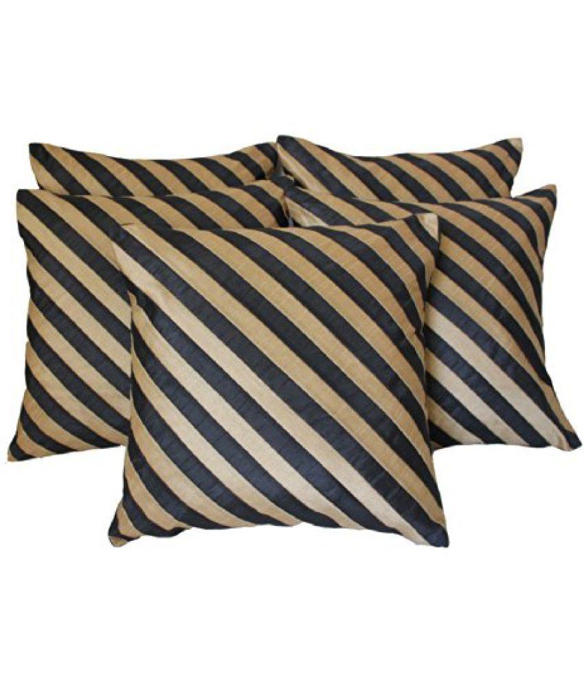DEKOR WORLD Diagonal Striped Black & Beige Cushion Cover(Pack Of 5)(16