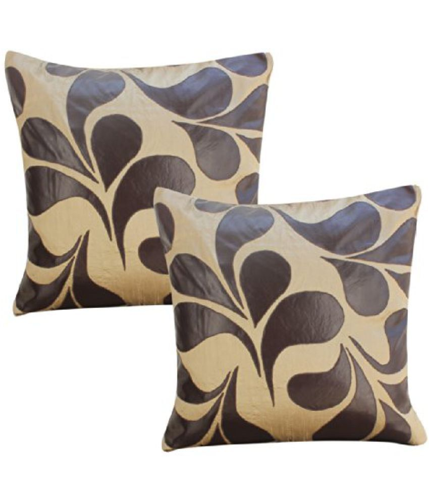 DEKOR WORLD Raxion Leaf Cutting Cushion Cover (Pack Of 2 )(16