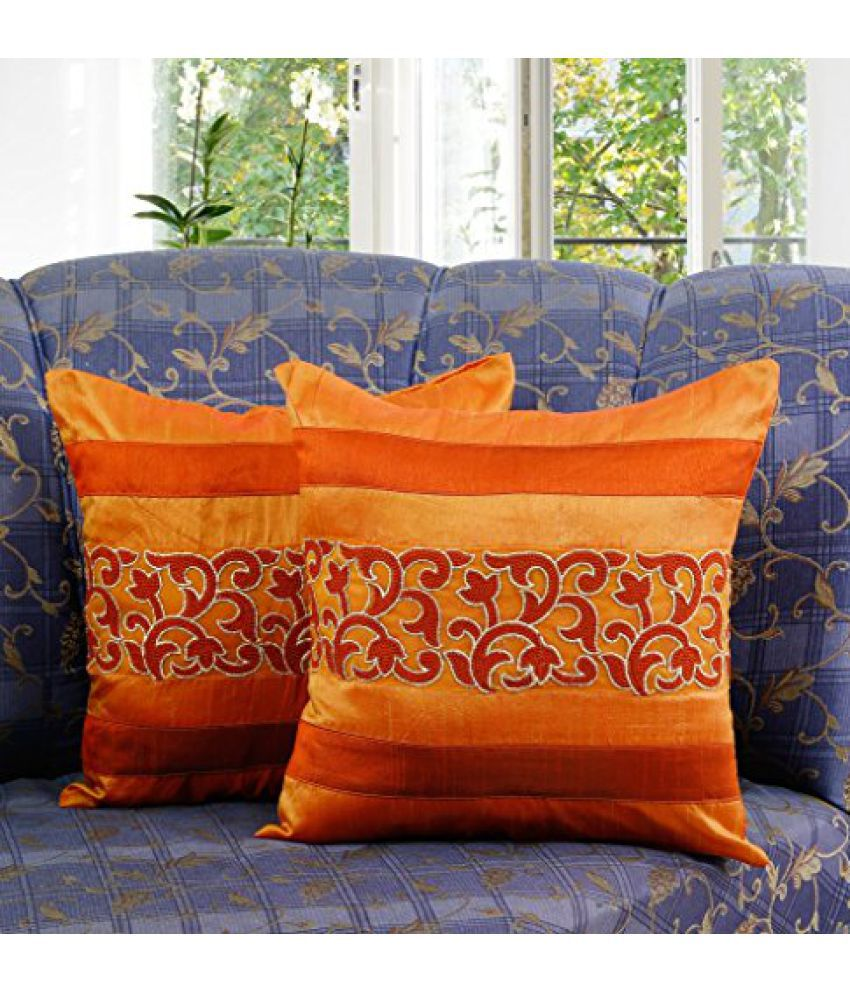 Dekor World Sprial Embroidery Cushion Cover (Pack of 2)