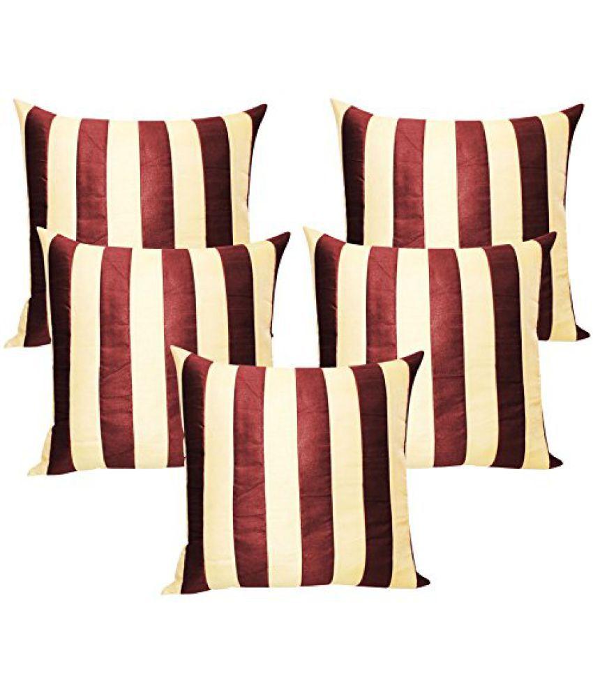 Straight Stripe Brown N Beige Cushion Covers 30x30 Cms (Set of 5)