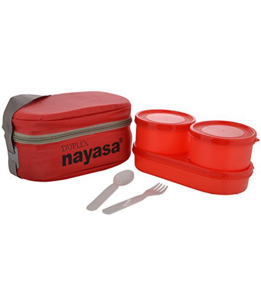 Nayasa Duplex Softline Plastic Lunch Box, 3 Pieces, Red