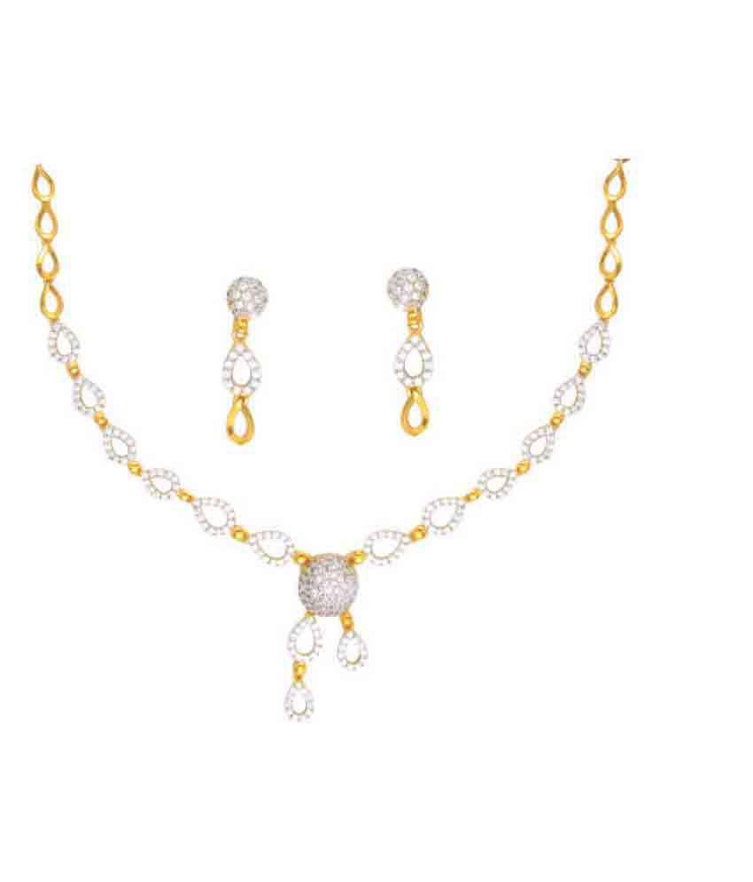 Anjali Jewellers Golden Necklace Set - Buy Anjali Jewellers Golden ...