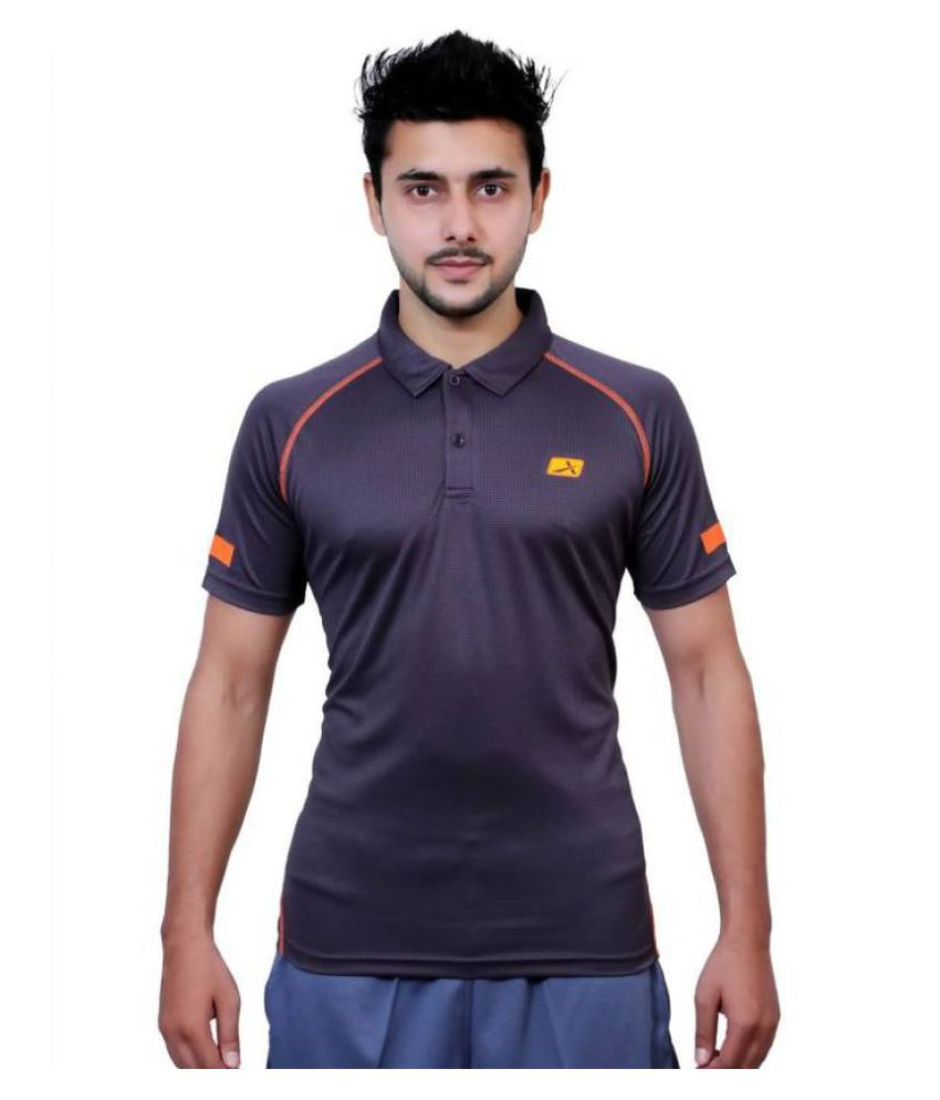 Vector X Solid Men's Polo Neck Grey T-Shirt