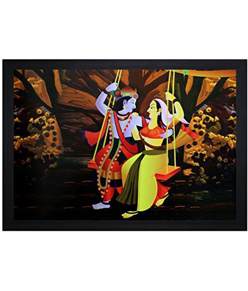 SAF Textured Print with UV Framed Reprint Painting (SANFO529, 30 cm x 3 cm x 45 cm)
