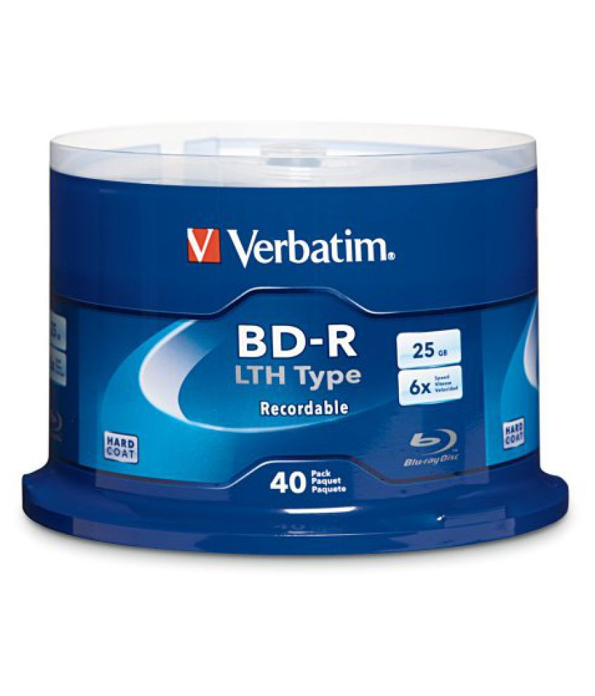 Verbatim 25 GB 6x Blu-ray Single-Layer Recordable Disc BD-R LTH Low to High, 40 Disc Spindle FFP 97707
