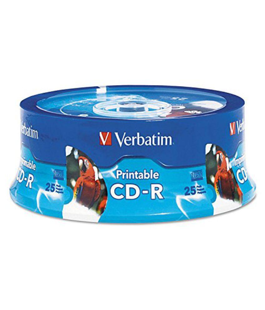 Verbatim - Hub Inkjet Printable CD-R Discs 700MB 80min 52x White 25 Pack 96189 DMi PK by Verbatim