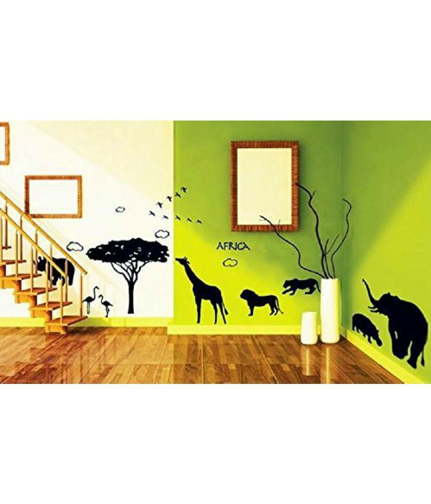 Syga Africa style world of animal silhouettes wall stickers (Wall ...