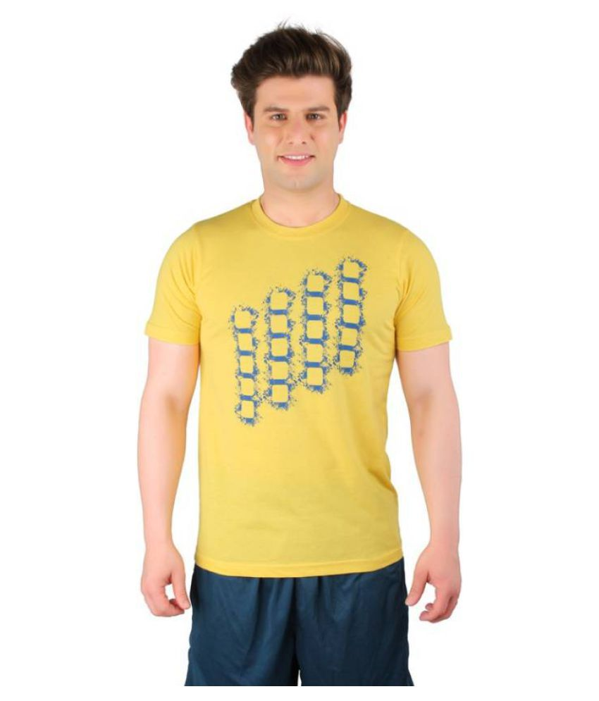 Vector X Printed Men's Round Neck Yellow T-Shirt