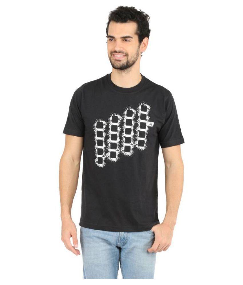Vector X Printed Men's Round Neck Black T-Shirt
