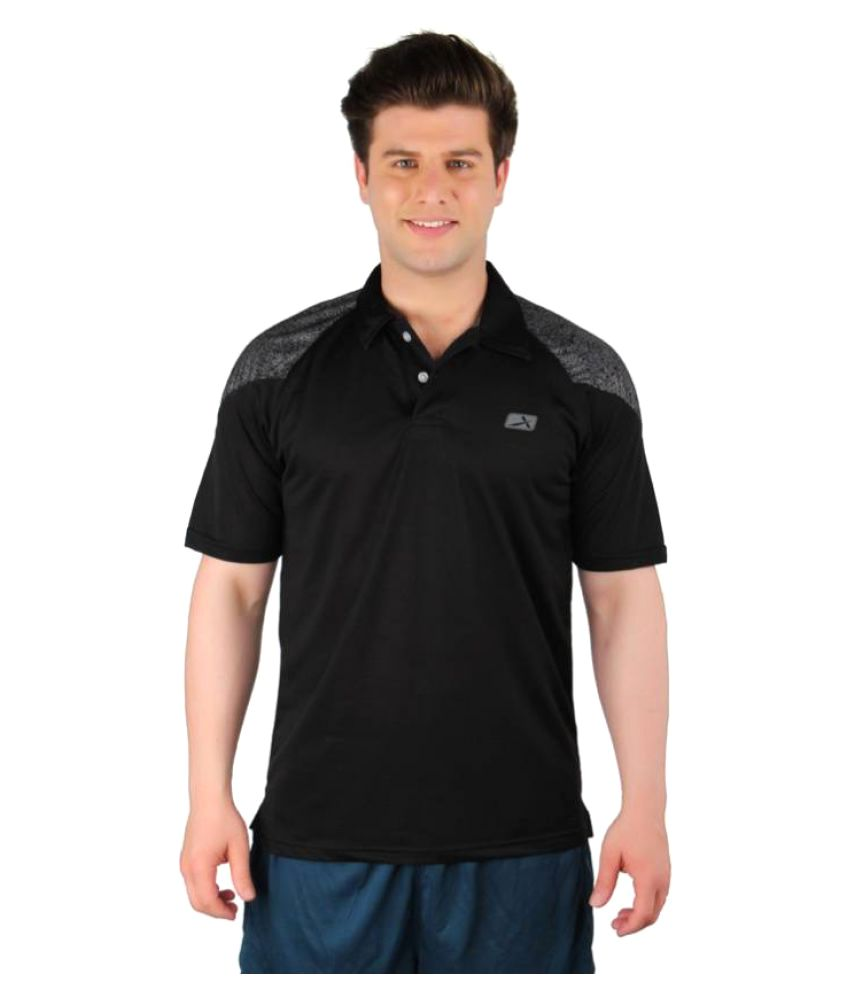 Vector X Solid Men's Polo Neck Black T-Shirt