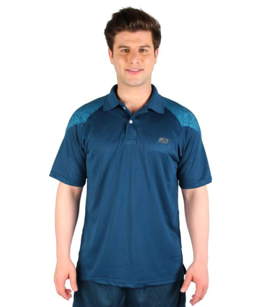 Vector X Solid Men's Polo Neck Dark Blue T-Shirt