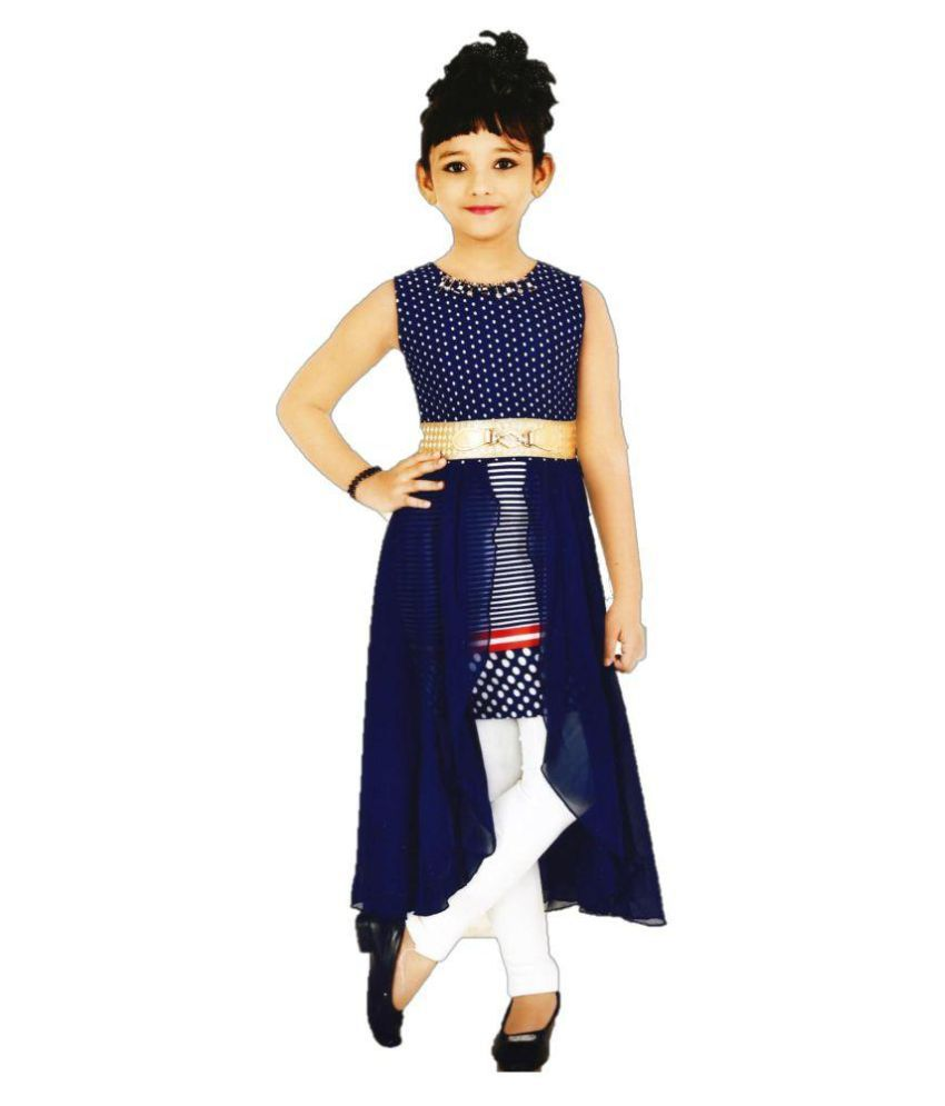 58c656cd4163 Auli Blue Stylist Long Cape Top Dress With White Leggings For Girls - Buy  Auli Blue Stylist Long Cape Top Dress With White Leggings For Girls Online  at Low ...