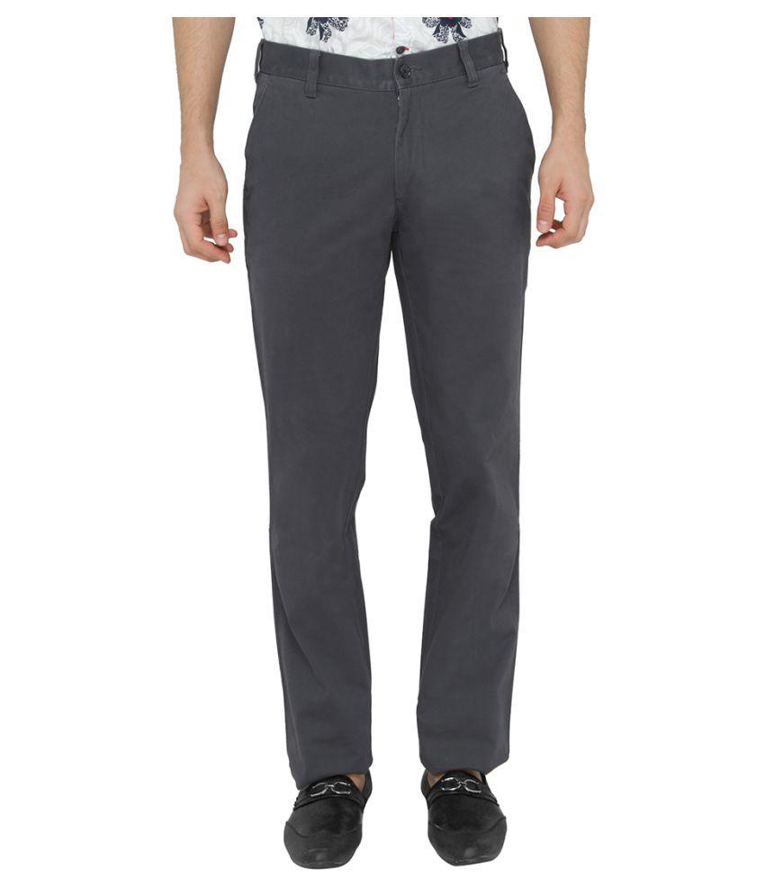 JadeBlue Grey Slim Flat Trousers