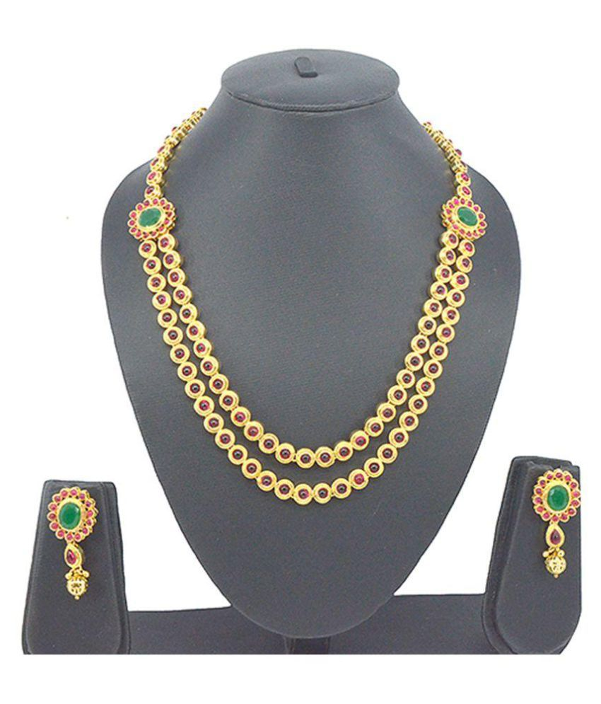 Saloni Fashion Jewellery Latest Bollywood Style Hi Multicolour Rani Onyx Campo Necklace Set