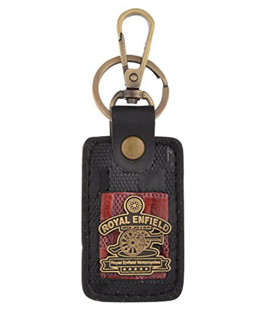 Kairos Royal Enfield Black Leather Keychain Red Gold Classy Bike Key Chain (KC-RE-RedMD-BL )