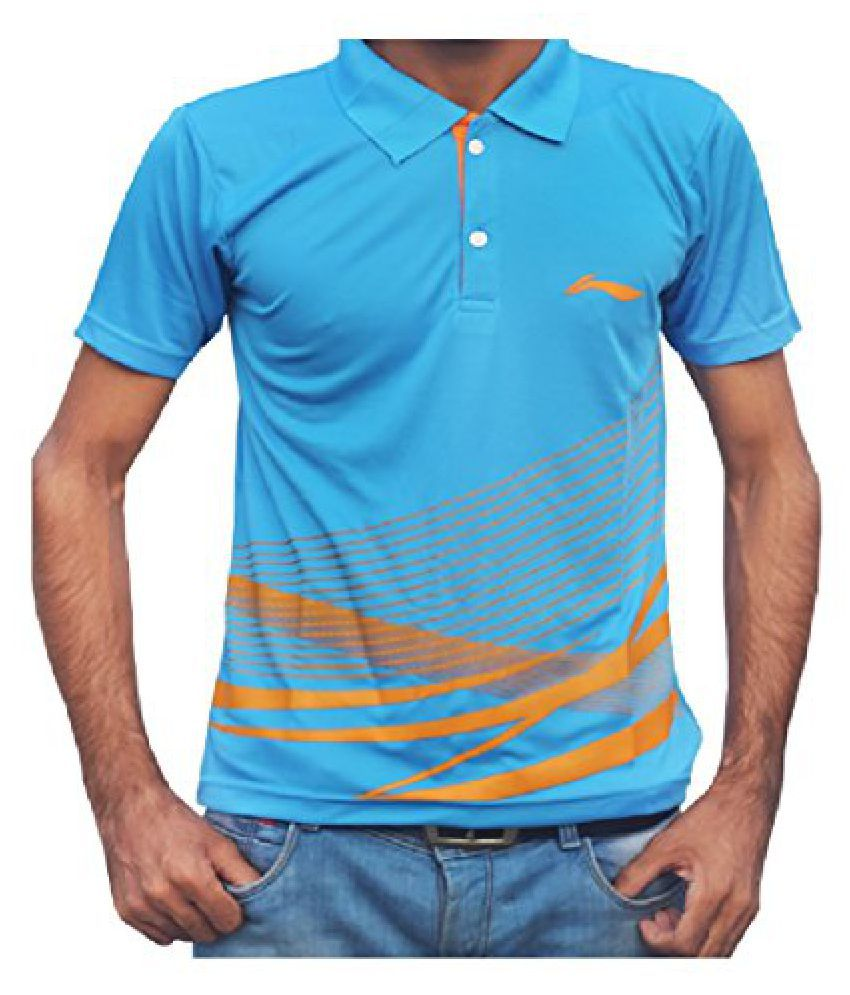 Li-Ning APLK397-4 Plain Collar T-Shirt (Blue)