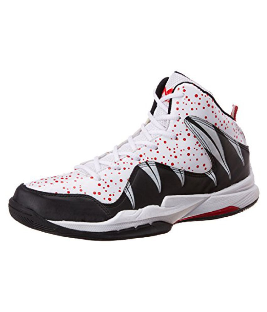 Nivia Heat Basketball Shoes, UK 9 (White/Red)