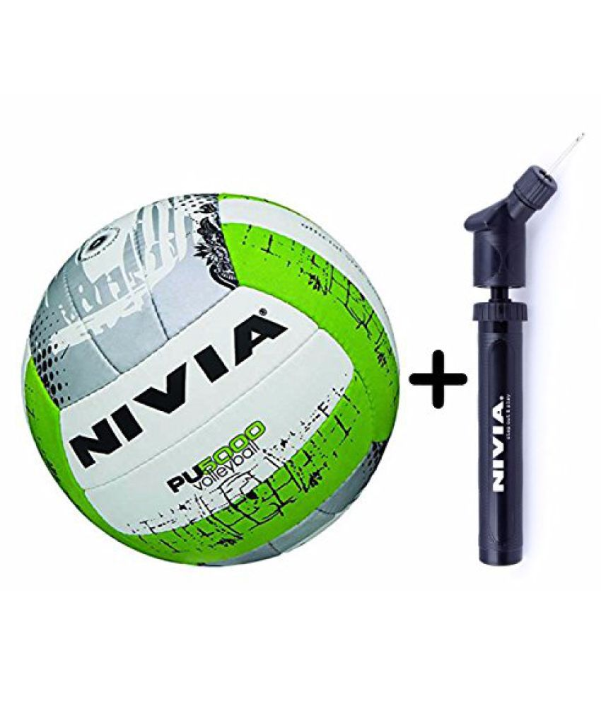 Nivia PU 5000 Volleyball Combo (Nivia PU 5000 Volleyball, Size 4 + Nivia Double Action Ball Pump)