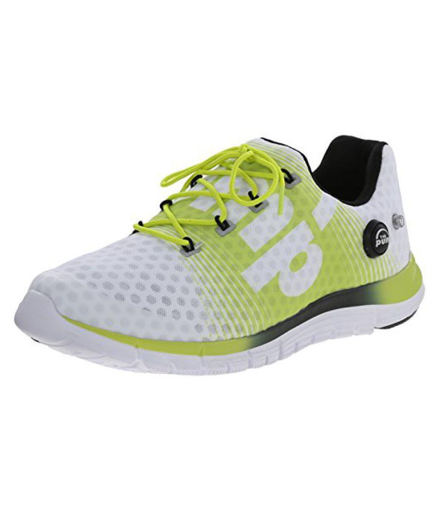 Reebok Mens Z-Pump Fusion Running Shoe White/Semi Solar Yellow/Black 11 D(M) US
