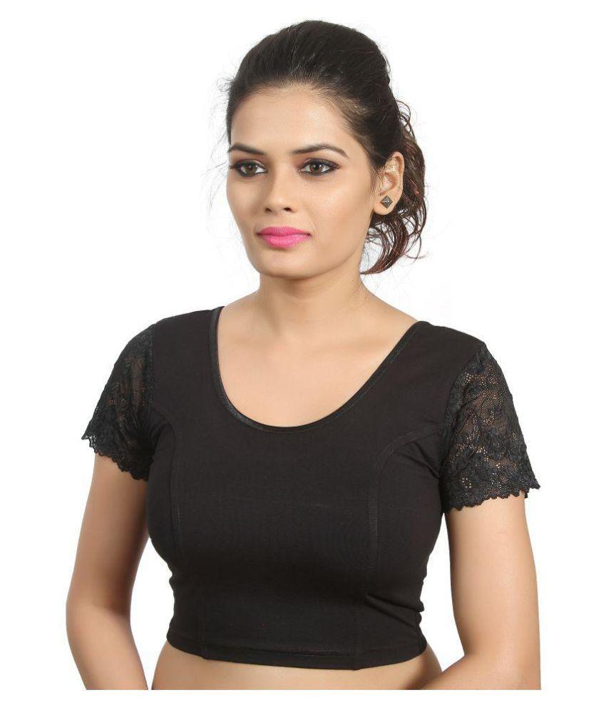 Atulya Designer Blouse Black Round Shape Back Blouse