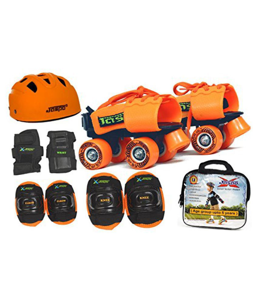 Jaspo Halloween Pro junior Skates combo(skates+helmet+knee+elbow+wrist+bag)suitable for age upto 5 years