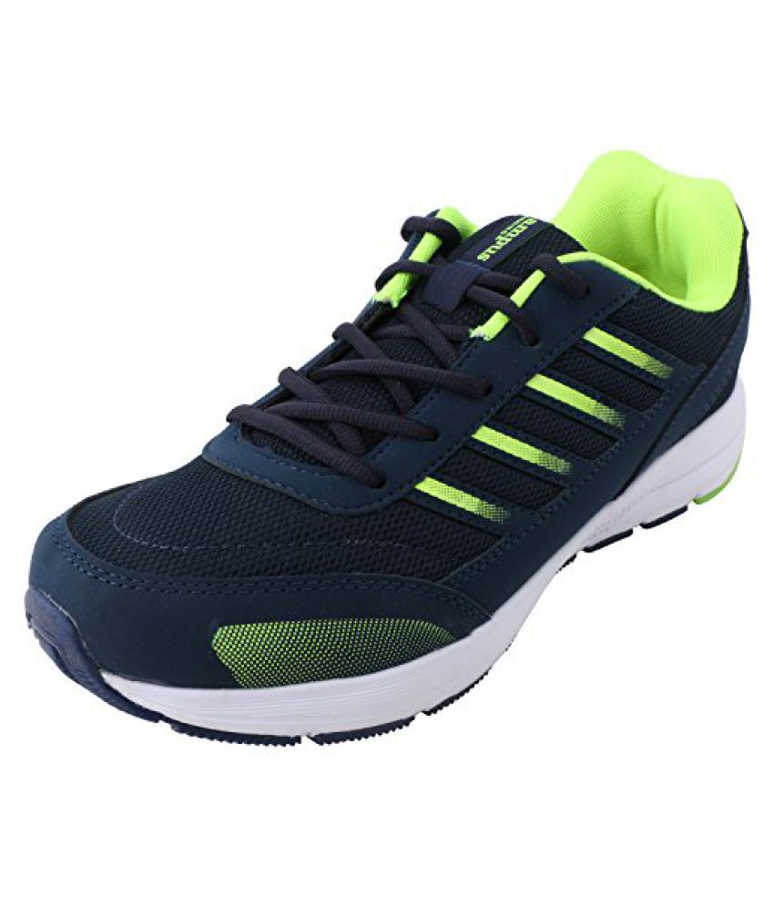 Action Campus Men's Dark Blue Fluorescent Green Synthetic and Nylon Mesh Sports Shoes