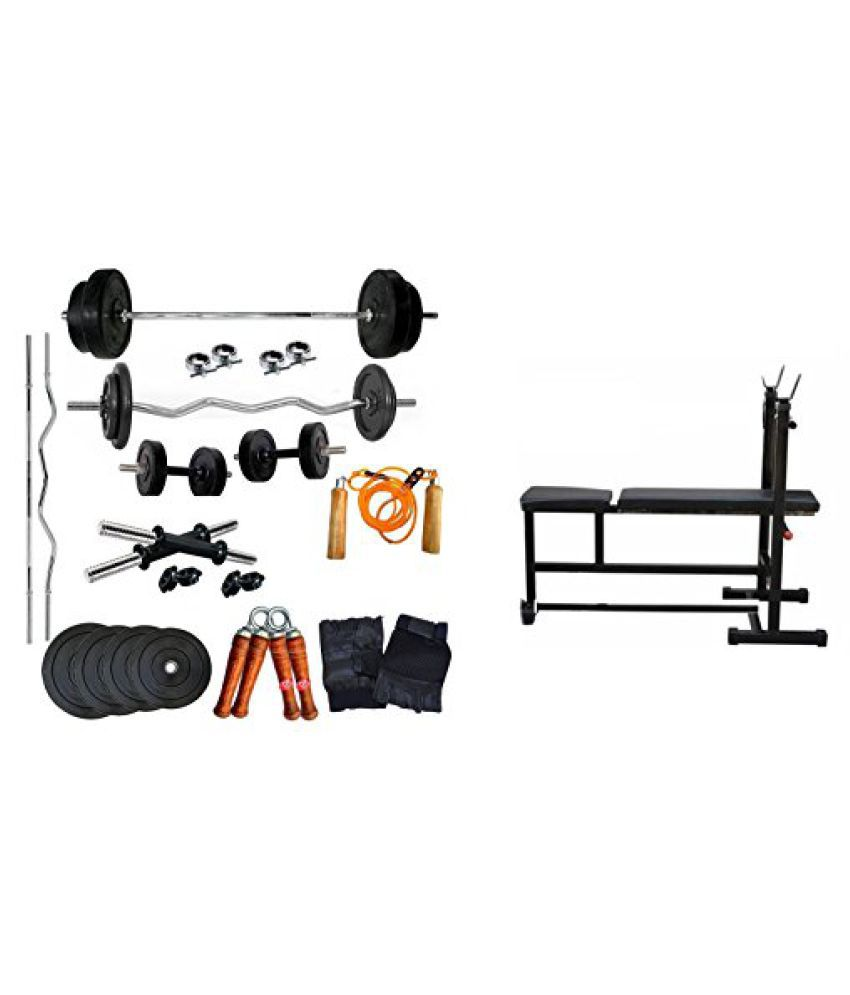 Aurion 65 kg home gym Set with 3 in 1 bench (incline/decline/flat bench) 14 Inch Dumbbell rods + Accessories