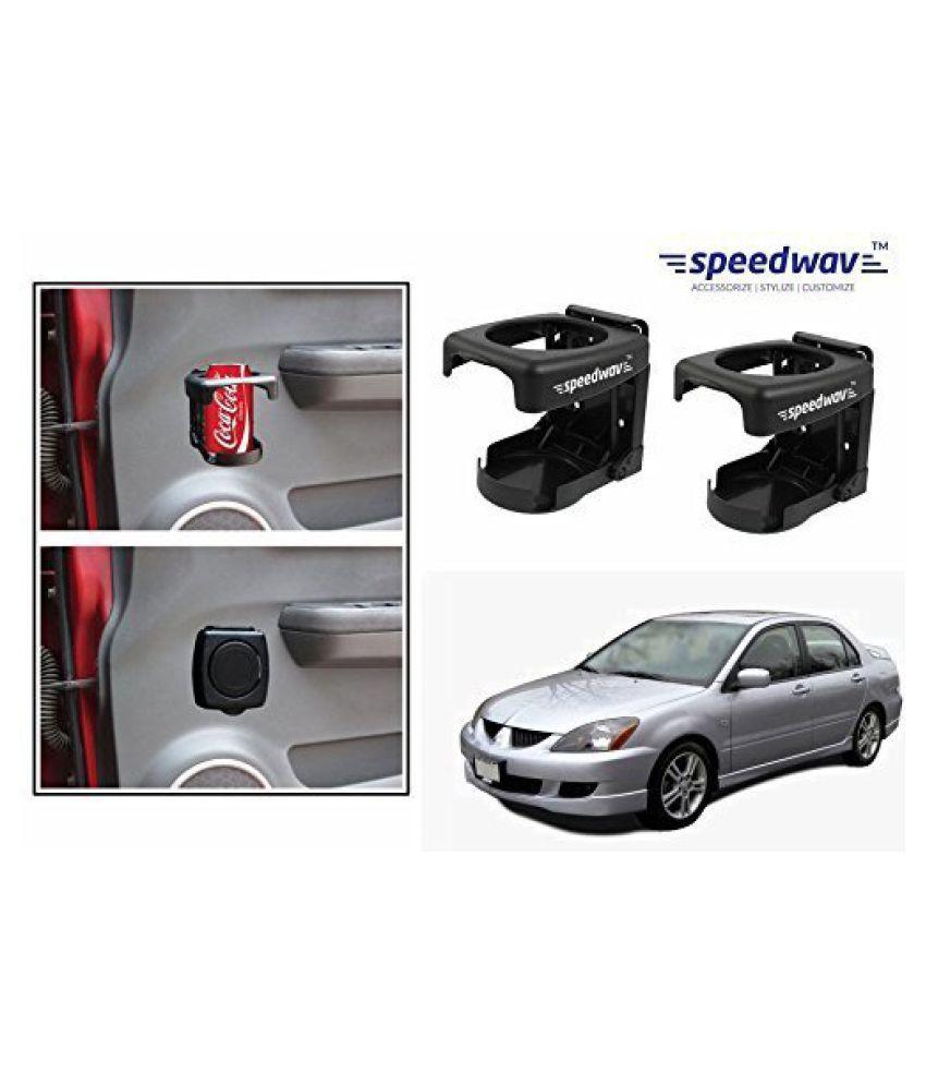 Speedwav Foldable Car Drink/Bottle Holder Set Of 2 BLACK-Mitsubishi Lancer Cedia