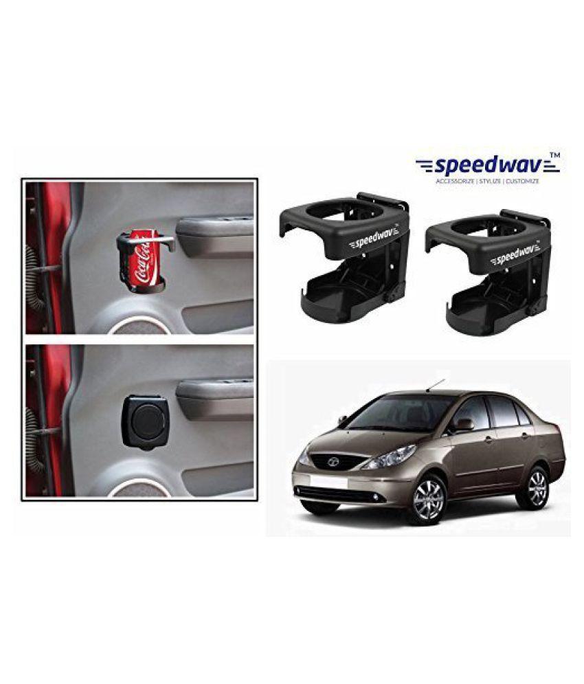 Speedwav Foldable Car Drink/Can/Bottle Holder Set Of 2 BLACK-Tata Indigo