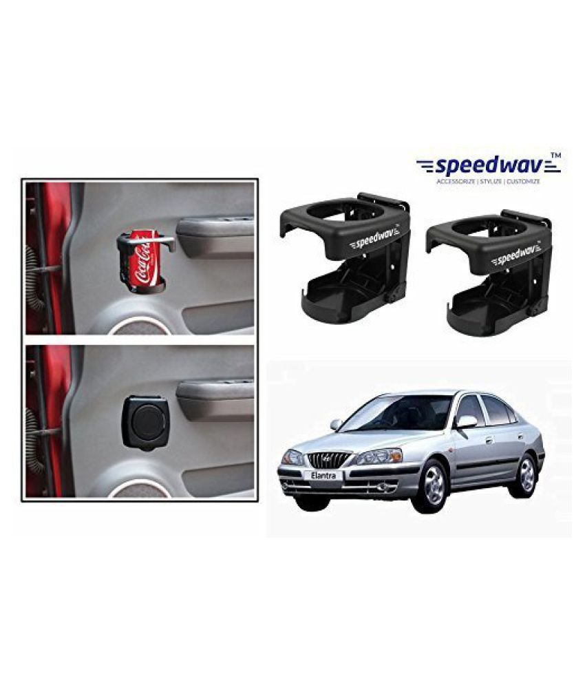 Speedwav Foldable Car Drink/Can/Bottle Holder Set Of 2 BLACK-Hyundai Elantra
