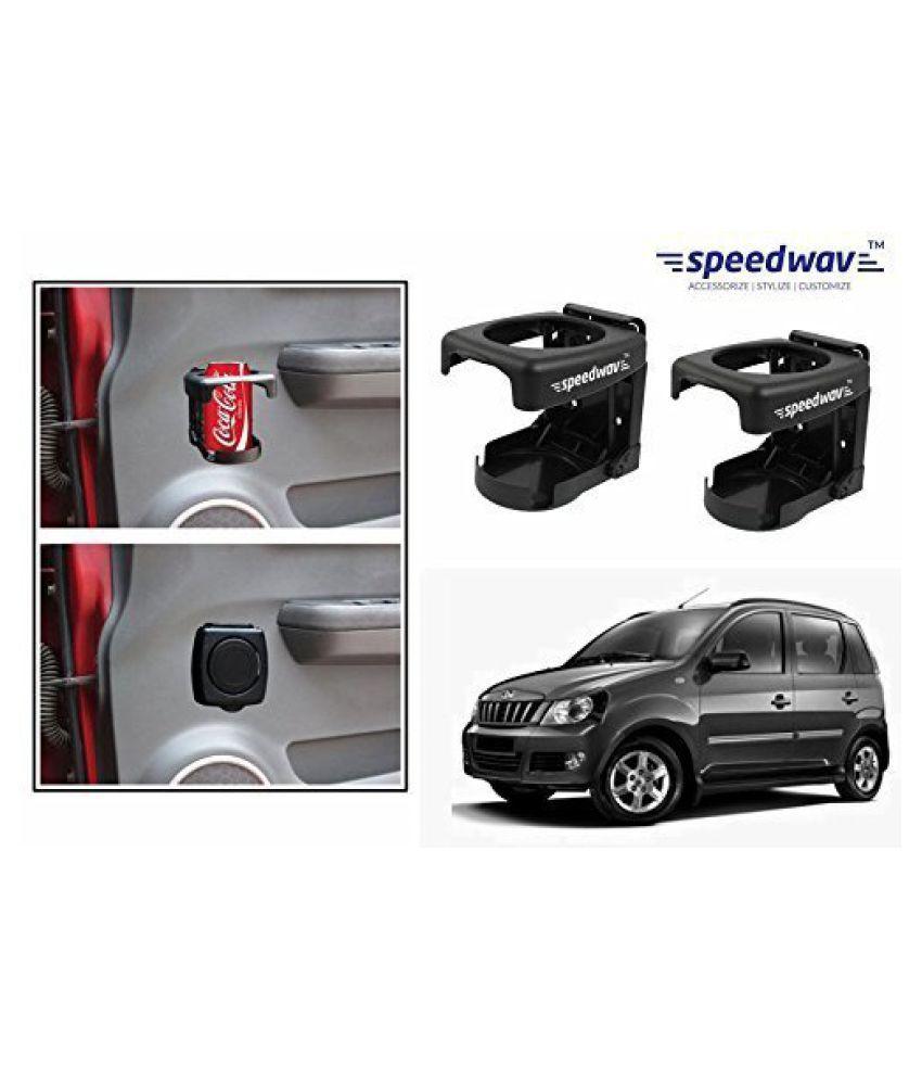 Speedwav Foldable Car Drink/Can/Bottle Holder Set Of 2 BLACK-Mahindra Quanto