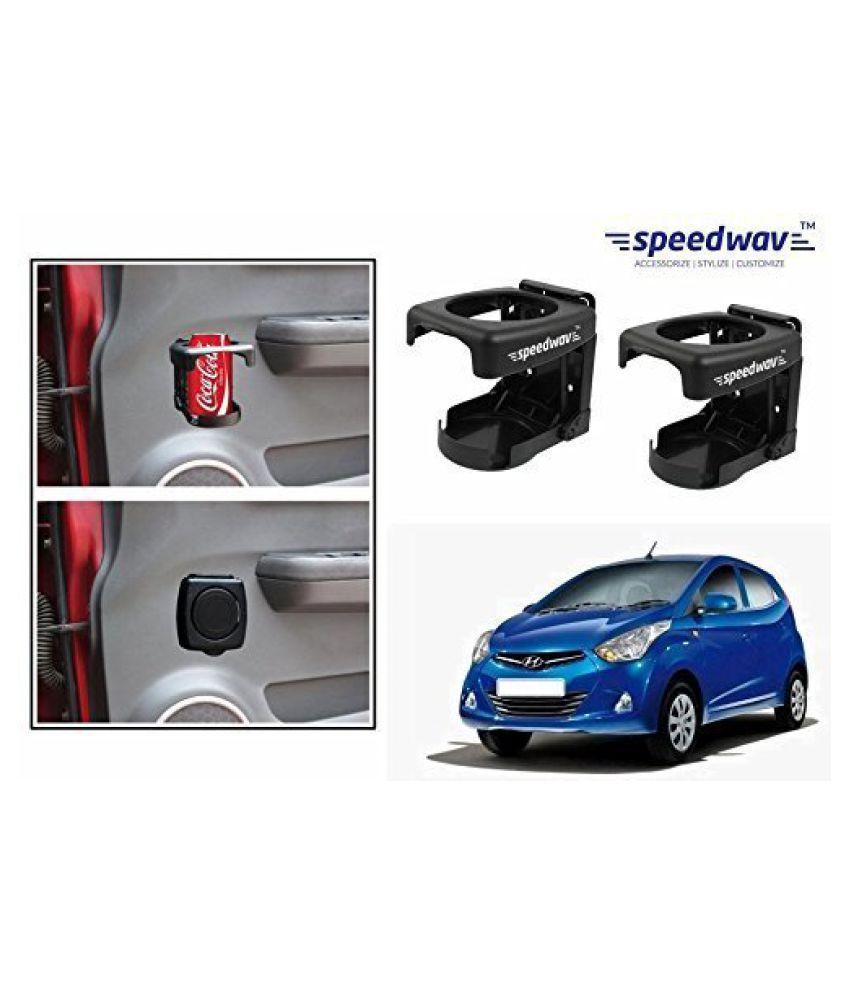 Speedwav Foldable Car Drink/Can/Bottle Holder Set Of 2 BLACK-Hyundai Eon