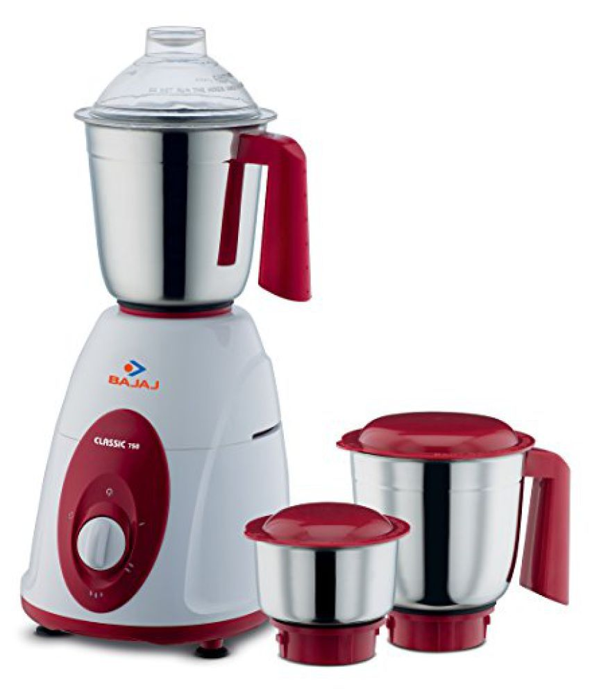 Bajaj Classic 750-Watt Mixer Grinder with 3 Jars (White and Crimson Red)